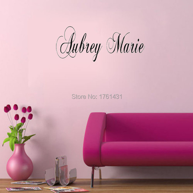 Large Fancy Custom Name home decoration wall art decals living room ...