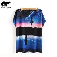2017 Fashion T Shirt Galaxy Space 3D Print Meteor Girl Pattern Casual Tee Tops O Neck