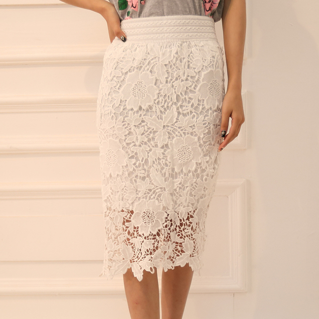 30afa21094c90 talla 6xl Saias Femininas White Black Vintage Crochet Pencil Midi Skirt  Women Retro Roupas Femininas Attire Skirt Faldas Female