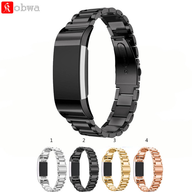4 Color Watchbands Stainless Steel Smartwatch Strap Wristwatch Band For Fitbit Charge 2 Luxury Stainless Steel Replacement Band