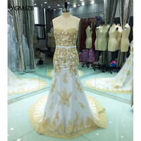 Elegant Mermaid Long Evening Dresses 2018 Sweetheart Beaded Gold Embroidery White Arabic Women Formal Prom Evening Gowns Party