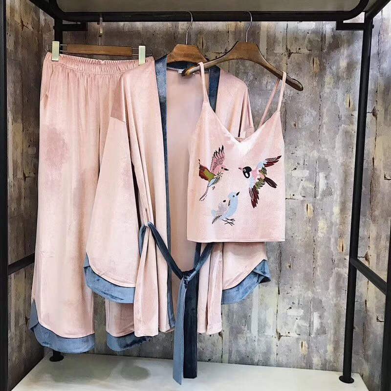 Birds Pleuche Velvet Pink 3 Pieces   Pajama     Sets   For Women Winter Vintage Sexy Warm Robe   Sets   Elegant Female Sleepwear E2569
