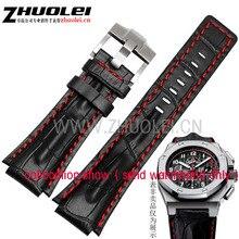 26*18 мм (луг ширина) черный с красным стежка Натуральная кожа ремешок для часов ремешок с пряжкой из нержавеющей стали для AP wathes браслет