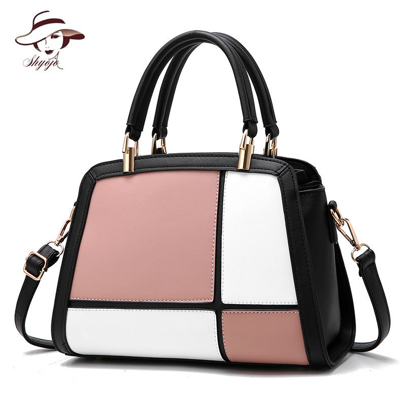 Casual Panelled Women Hand Bag Fashion Big Crossbody Shoulder Tote Famous Brand Messenger Bags Ladies PU Leather Handbags Bolsos bailar fashion women shoulder handbags messenger bags button rivets totes high quality pu leather crossbody famous brand bag