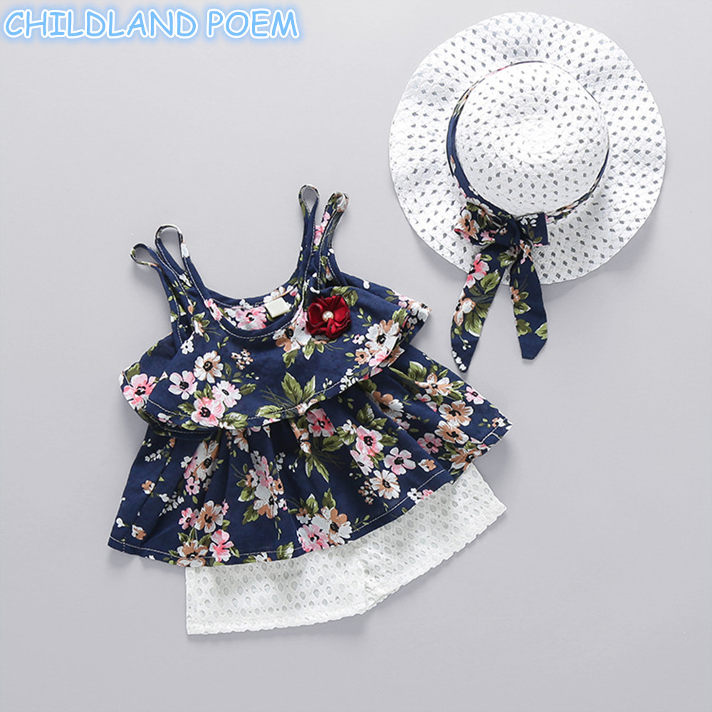 Baby Girl Clothes 2018 Summer Floral Newborn Baby Clothes Sets 3Pcs/set Vest + Pant + Sunhat Infant Baby Girls Sunsuit Outfits