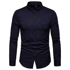 Image 2 - สีขาว Mandarin COLLAR เสื้อผู้ชาย 2019 ฤดูใบไม้ผลิใหม่ Slim ยาว Henley เสื้อ Mens ธุรกิจชุดลำลองเสื้อ Homme