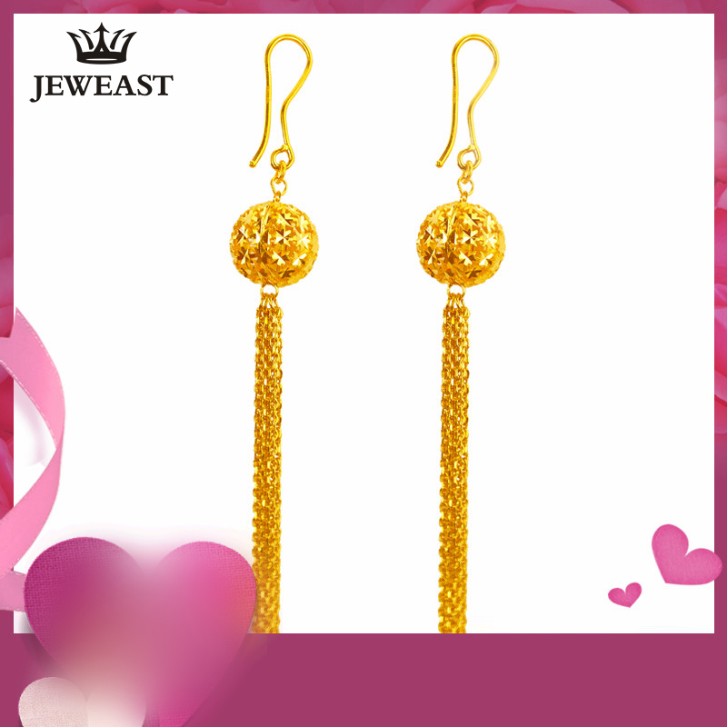 24K Pure Gold Earring Real AU 999 Solid Gold Earrings Nice Good Hollow Ball Tassel Upscale Trendy Fine Jewelry Hot Sell New 2018