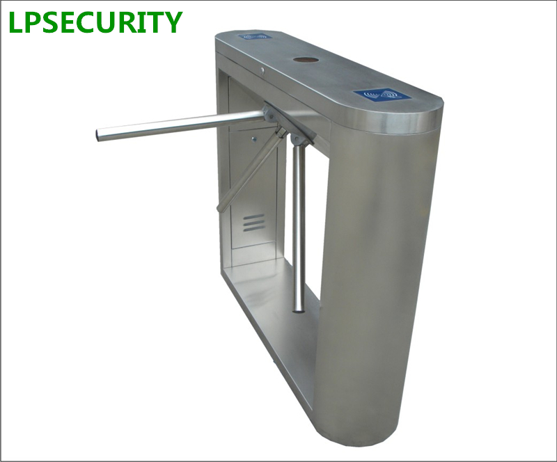 LPSECURITY stainless steel waist high tripod turnstile gate for pedestrian access control with LED indicator double sided turnstile for access control system catracas tourniquetes