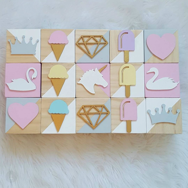 Home Decor Pine Wooden Swan Unicorn Building Blocks 3pcs/set Nordic Baby Kids Room Beard Diamond Decoration Handicraft Children Gifts Toy