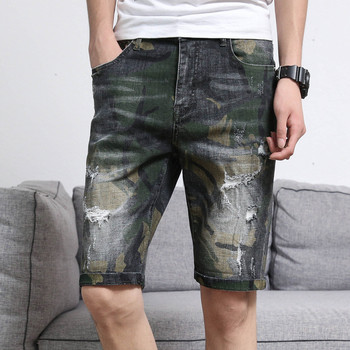 Men's Denim Shorts 2020 Spring and Summer New High-end Shorts Army Decoration Personality Print elastic Camouflage Denim Shorts фото