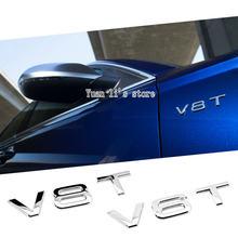 10 шт. Автомобильная хромированная эмблема V8T V6T оригинальная эмблема OEM автомобильная эмблема v8t v6t Автомобильная Эмблема палка для кузова ав...