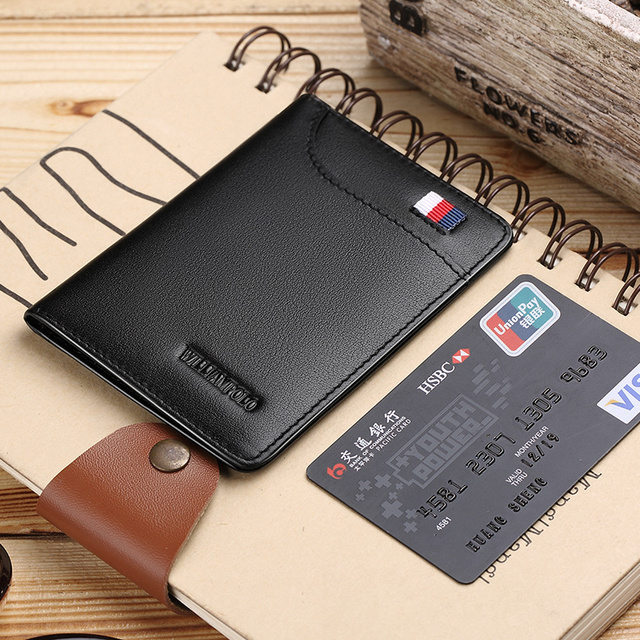 WILLIAMPOLO  fashion brand men wallets genuine leather slim bifold credit card holder male pocket purse male clutch PL296