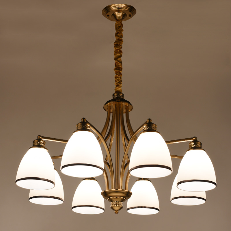 Vintage Plating Coppery Chandelier LED American Style Pendant lamp light 6/8 Heads Glass shade Ceiling lamp for Living Room new american all copper chandelier gold 6 8 10 lights water shade luster led lighting living room restaurant lamp