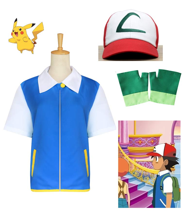 Pokemon Ash Ketchum Kids Cosplay Costume Blue Jacket + Gloves + Hat Ash Ketchum Costumes Pokemon Adult Costume