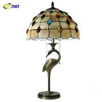 Фумат Тиффани павлиний хвост пятнистости Стекло настольная лампа натуральный Shell абажур кран Форма патроны настольные лампы Спальня огни