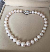 Hot sale new Style >>>12-15mm natural pearl necklace female light shine round baroque Pearl necklace