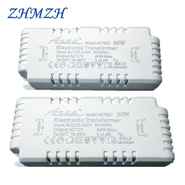 Transformador eletrônico regulável ac220v para 12v, 60w 80w 105w, fonte de alimentação para quartzo g4/g5.3 lâmpada de halogêneo cristal ce