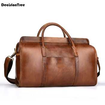Free Shipping Hand Luggage Unisex Travel Bag Carry Packing Men Vintage Bag 2019 Men Duffel Genuine Cow Leather Handbag LY48 - DISCOUNT ITEM  23 OFF Luggage & Bags