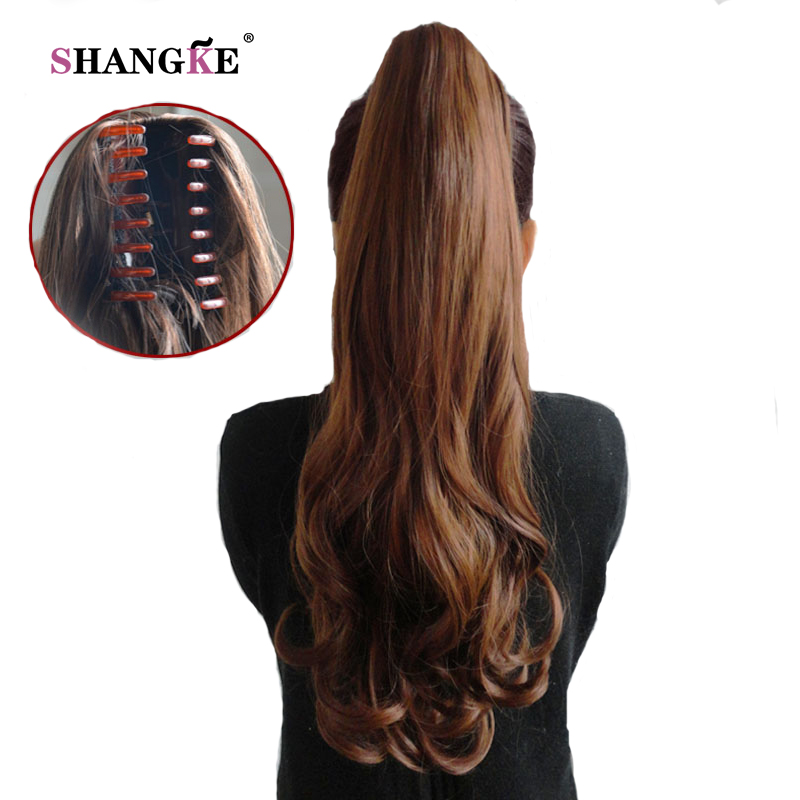 SHANGKE Hair 24 Long Curly Ponytail Claw Drawstring