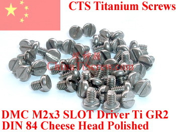 Titanium screw M2X3 DIN 84 Cheese Head Slotted Driver Ti GR2 Polished 50 pcs