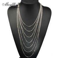 2019 moda długi naszyjnik dla kobiet w stylu Vintage srebrny wielowarstwowe łańcuch Tassel wyróżniający się naszyjnik biżuteria Collares Bijoux Collier
