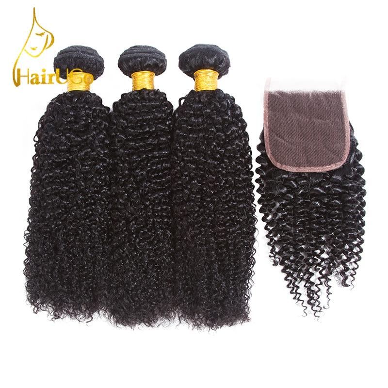 HairUGo Human Hair Pre-colored Malaysian Kinky Curly Wave dengan - Rambut manusia (untuk hitam)