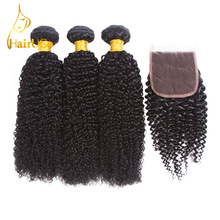 HairUGo Human Hair Pre-colored Malaysian Kinky Curly Wave dengan Nature Black Lace Closure 3 Bundles With Closure Wig