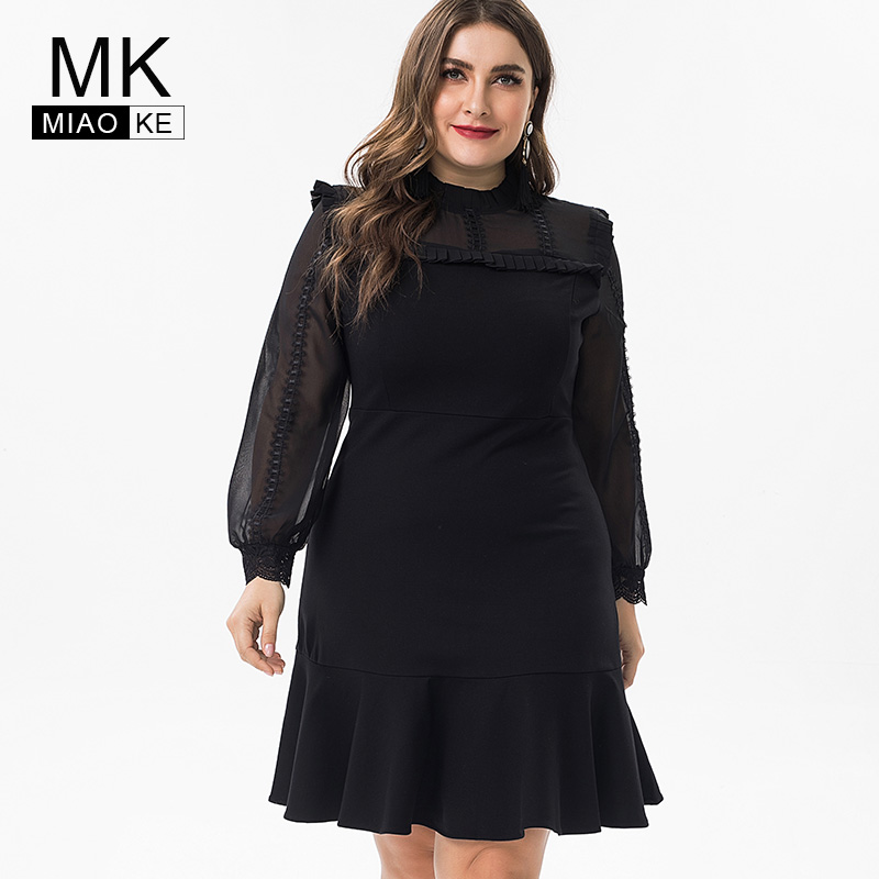 Miaoke 2019 spring ladies Plus Size black cotton elegant dress womens party night Clothing midi party