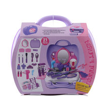 21Pcs Children Advanced Comestics Case Make up Toy Kit Girls Pretend Play Emulational Dress Comestics Suitcase(China)