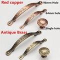 Botão único Buraco Passo 64mm/96mm Vermelho Cobre/Bronze Antigo armário de Cozinha Móveis Handle gaveta quarto puxa