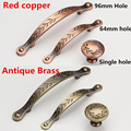 Single Knob Hole Pitch 64mm/96mm Red Copper/ Antique Brass Kitchen cabinet Furniture Handle bedroom drawer pulls