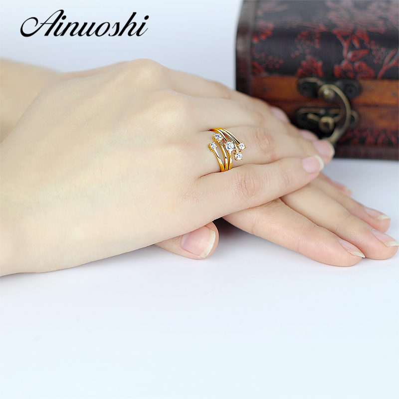AINUOSHI 14 K solide or jaune étoile fleur anneau conception spéciale SONA simulé diamant mariage fiançailles grappe anneau femmes cadeau - 6