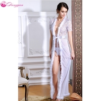 DangYan Sexy Adult Lingerie Pajamas Summer Perspective Long Opening Sleepwear Erotic Lingerie Plus Size Erotic Nightgown