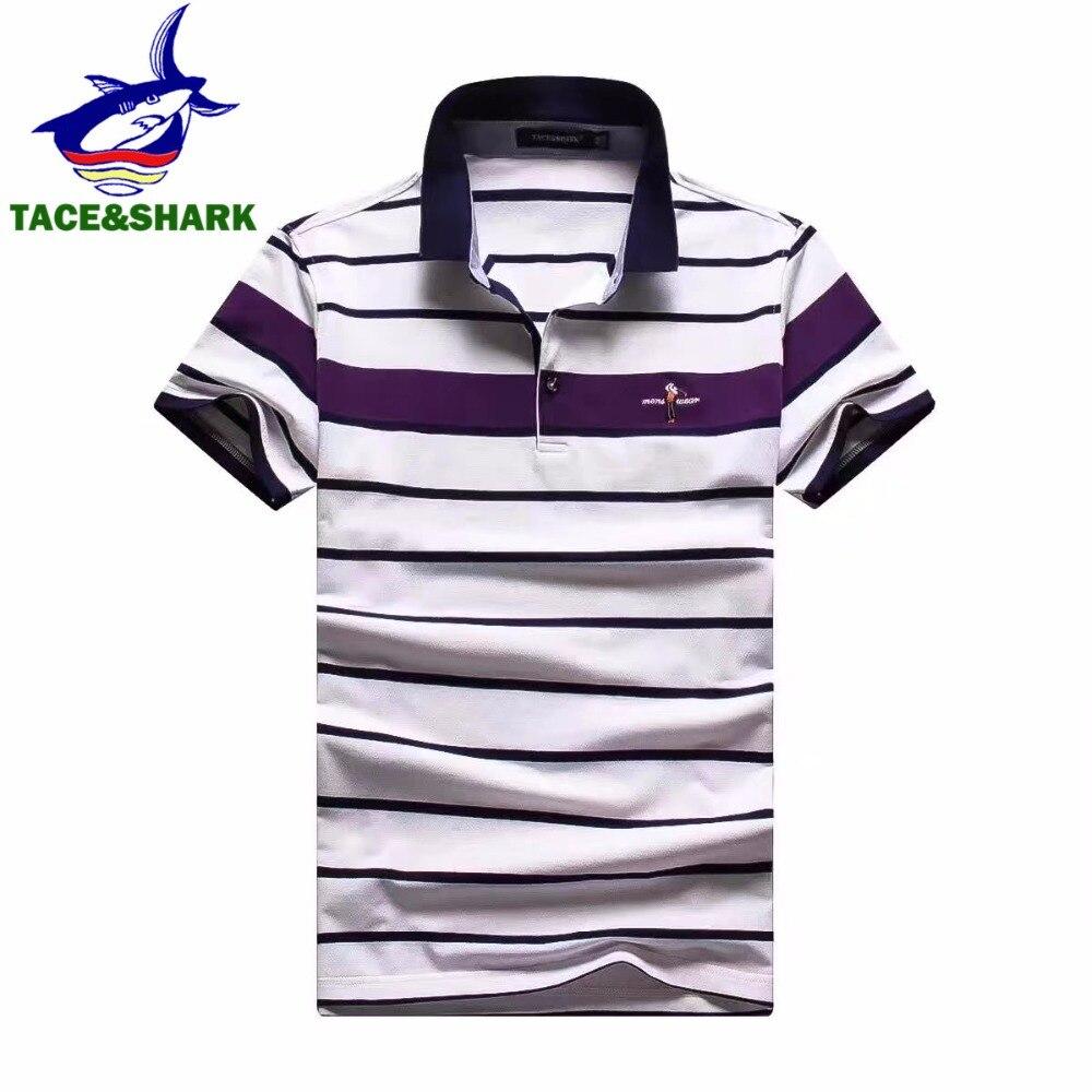 Famosos homens marca de roupas Tace   Shark polo ocasional do algodão do verão  de Alta qualidade Da Moda clássica masculina polos camisa b0d5b812ca519