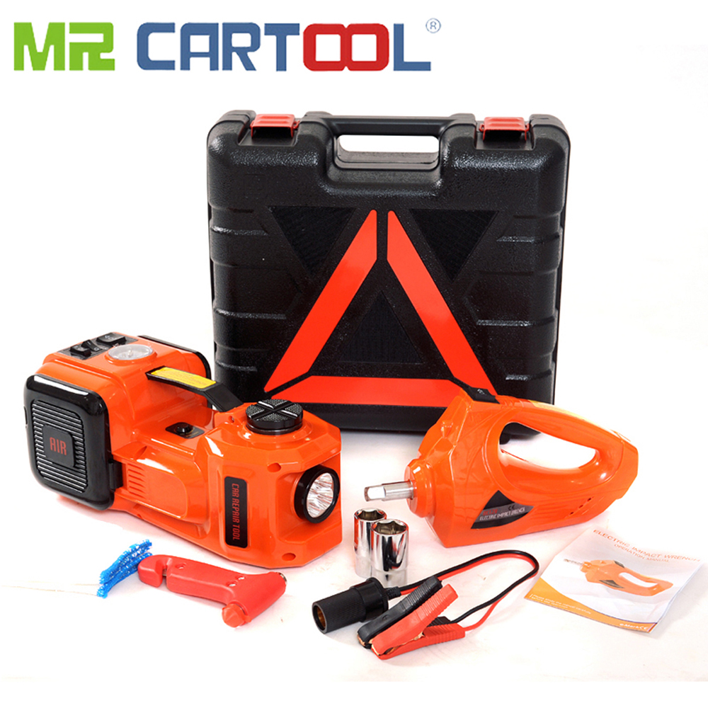 Mr Cartool 3 in 1 Electric Hydraulic Jacks 5T Car Floor Jack 12V DC with LED Light for Sedan Van Truck Car Disassembly Tool 45CM