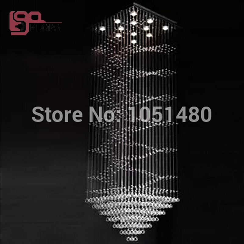 new item Dia60*h200cm modern crystal chandelier stairs chandelier light