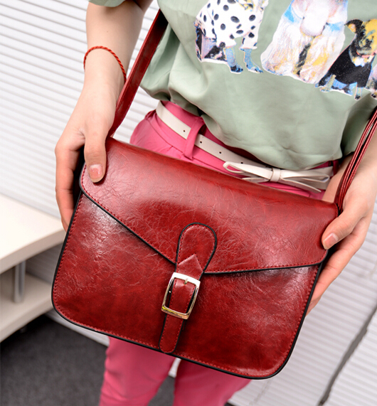 Fashion new handbags High-quality PU oil skin leather Women bag Korean retro temperament girl shoulder bag Red wine Female bag