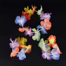 4Pcs/Set Hot Sale Hawaiian Colorful Flower Garland Necklace for Beach Fancy Dress Wedding Party Beach Decoration Wholesale(China)