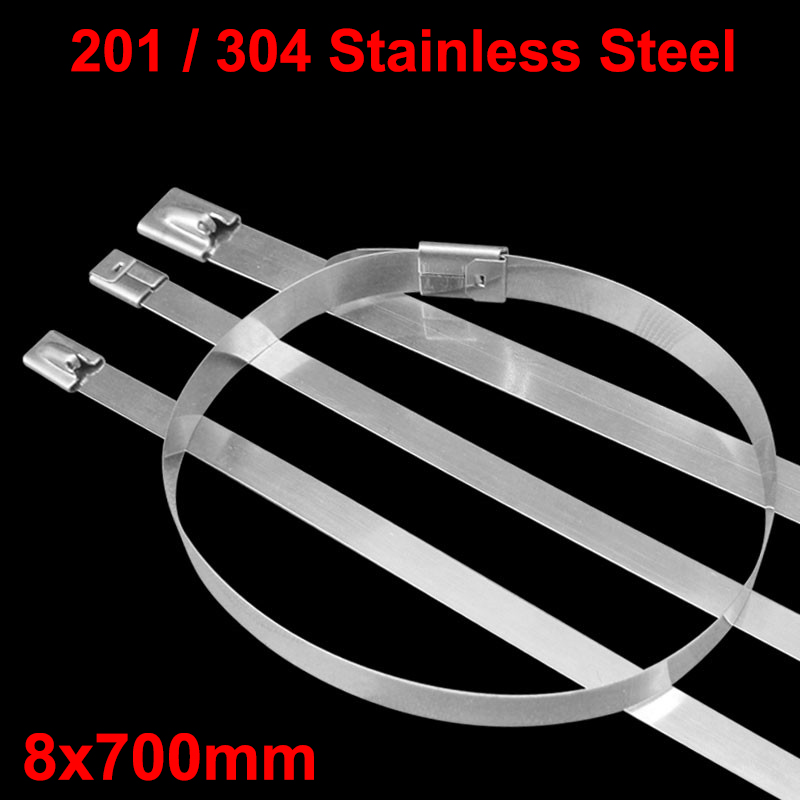 100pcs 8x700mm 8*700 201ss 304ss Boat Marine Zip Strap Wrap Ball Lock Self-Locking 201 304 Stainless Steel Cable Tie 304 stainless steel cable ties 4 6 400 100 package metal strap marine