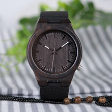 BOBO BIRD Ebony Men Watches CbB12 With Leather Strap Japanese Movement Quartz with Silver Needle Uomo Orologio in Gift Box