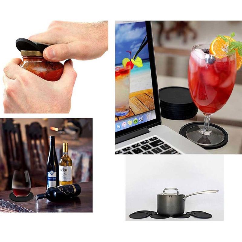 TEENRA 8 Stks Zwart Siliconen Drink Coaster Placemats Voor Placats - Keuken, eetkamer en bar - Foto 6