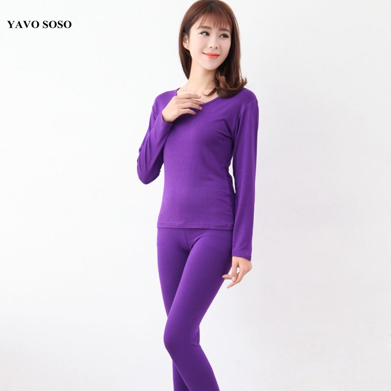 YAVO SOSO  Autumn Spring Style Plus Size 6XL High Elastic Modal Long Johns Women Pajamas Suits