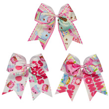 Adogirl 6pcs 6-7inch Cute Cartoon Print Ribbon Hair Bows School Girls Elastic Bands Headband Handmade Accessories