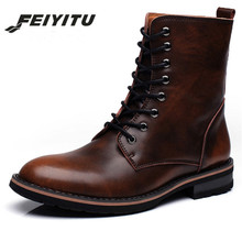 feiyitu Men Motorcycle Boots Vintage Combat Boot Winter Fur 2018 New Cow Split Leather Waterproof Buckle Military Shoe