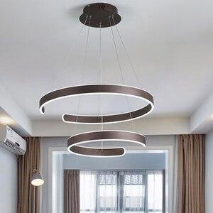 Image 3 - AC90 264VModern pendant lights for living room dining room Geometry Circle Rings acrylic aluminum body LED Lighting ceiling Lamp