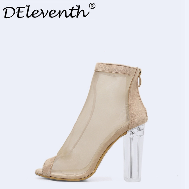 67ab3fa68e4 DEleventh 2018 Net Mesh Sandals Crystal Peep Toed Thick High Heels Women  Transparent Heel Womens Sandals Ladies Shoes Nude Black