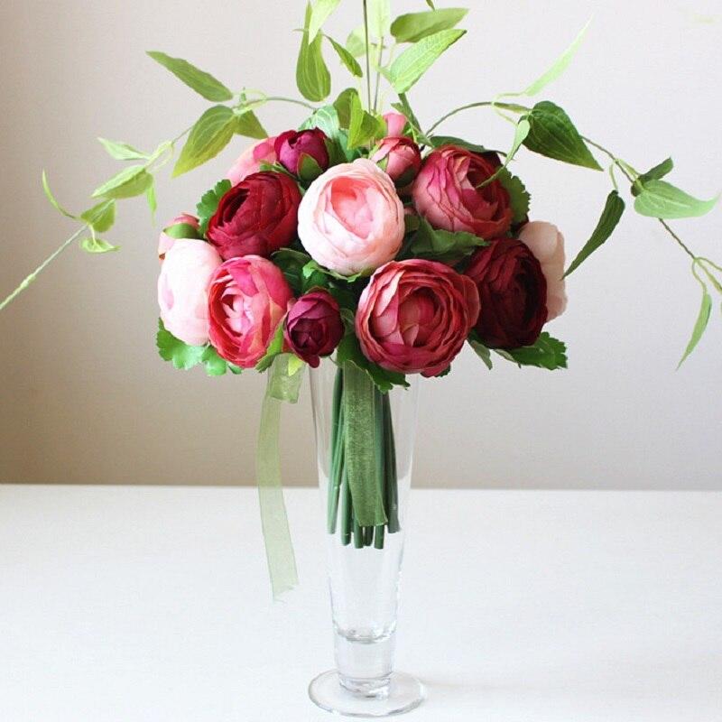 Wedding Decoration Artificial Flowers Set DIY Flower Flores Simulation Home Living Room Dining Table Vase
