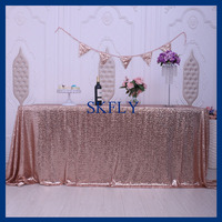 CL009A many colors available 6ft banquet rectangle 90''*132'' one seam glitter wedding rose gold sequin table cloth