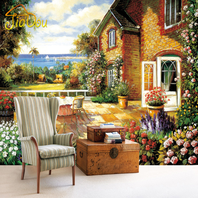 Living Room With Garden: European Style Garden Custom Mural Wallpaper 3D Oil
