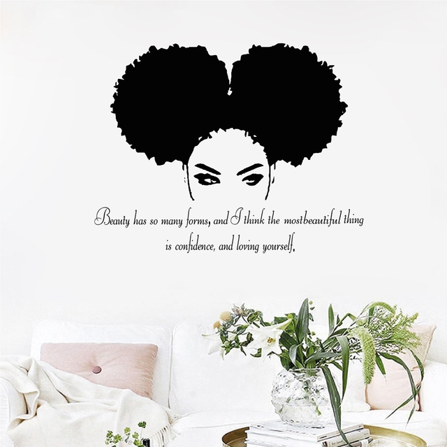 tribal african woman quote wall art decal beautiful afro girl vinyl